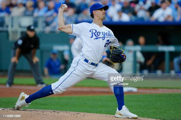 Jorge Lopez of the Kansas City Royals pitches in the first inning during the game against the Texas Rangers at Kauffman Stadium on May 15 2019 in...