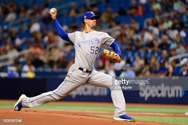 Hunter Wood of the Tampa Bay Rays throws a pitch in the first inning against the Kansas City Royals on August 20 2018 at Tropicana Field in St...