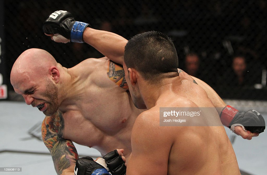 Jorge Lopez punches Justin Edwards during the UFC Fight Night event at the New Orleans Convention Center on September 17, 2011 in New Orleans, Louisiana.