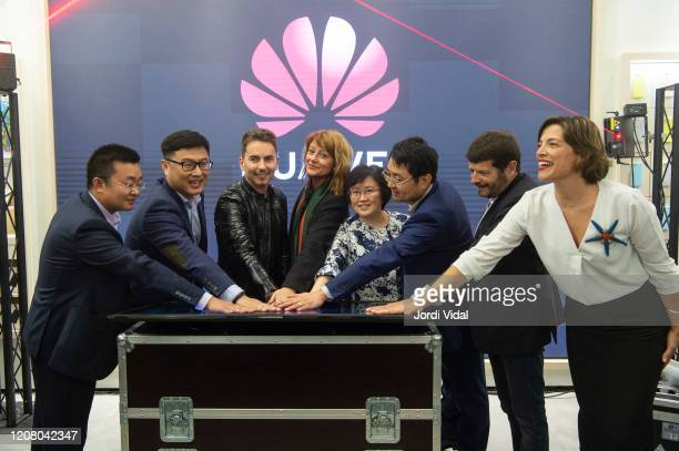 Jorge Lorenzo and guests inaugurate Espai Huawei Flagship Barcelona at Plaça Catalunya on February 22 2020 in Barcelona Spain