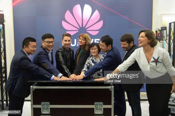 Jorge Lorenzo and guests inaugurate Espai Huawei Flagship Barcelona at Plaça Catalunya on February 22, 2020 in Barcelona, Spain.