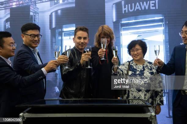 Jorge Lorenzo and guests inaugurate the Espai Huawei Flagship Barcelona at Plaça Catalunya on February 22, 2020 in Barcelona, Spain.