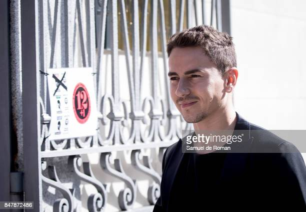 Jorge Lorenzo arrives to the Funeral Tribute For Angel Nieto in Madrid on September 16 2017 in Madrid Spain