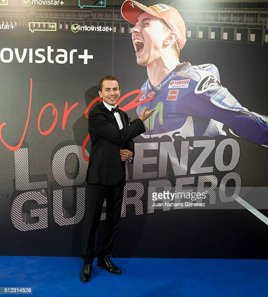 Jorge Lorenzo attends 'Lorenzo Guerrero' premiere at Cine Proyecciones on February 25 2016 in Madrid Spain