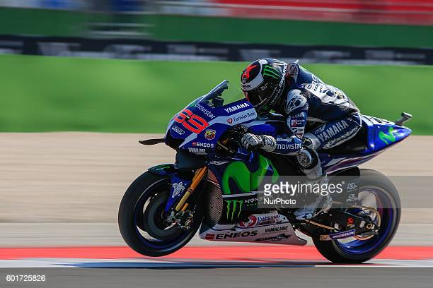 Jorge Lorenzo from Spain Movistar Yamaha MotoGP Team during the Day1 Free Practice at the Marco Simoncelli World Circuit for the 11th round of MotoGP...