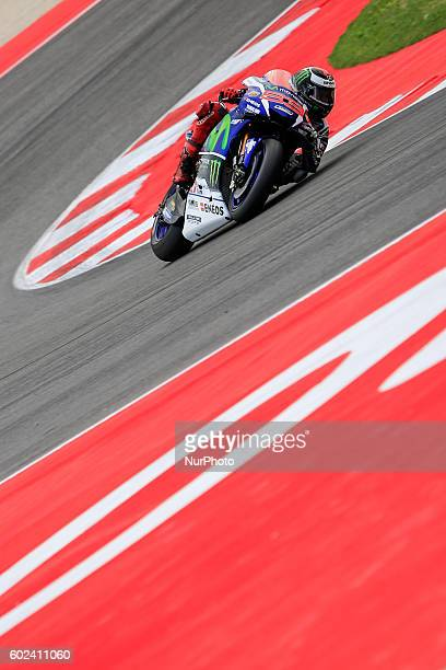 Jorge Lorenzo from Spain Movistar Yamaha MotoGP Team during the Day3 warmup session the Marco Simoncelli World Circuit for the 11th round of MotoGP...