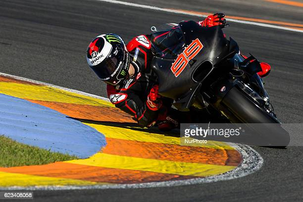 Jorge Lorenzo from Spain of Ducati Team during the colective tests of Moto GP at Circuito de Valencia Ricardo Tormo on November 15th, 2016 in...