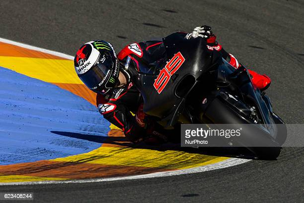 Jorge Lorenzo from Spain of Ducati Team during the colective tests of Moto GP at Circuito de Valencia Ricardo Tormo on November 15th 2016 in Valencia...