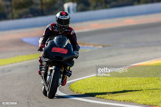 Jorge Lorenzo from Spain of Ducati Team during the colective tests of Moto GP at Circuito de Valencia Ricardo Tormo on November 16th, 2016 in...