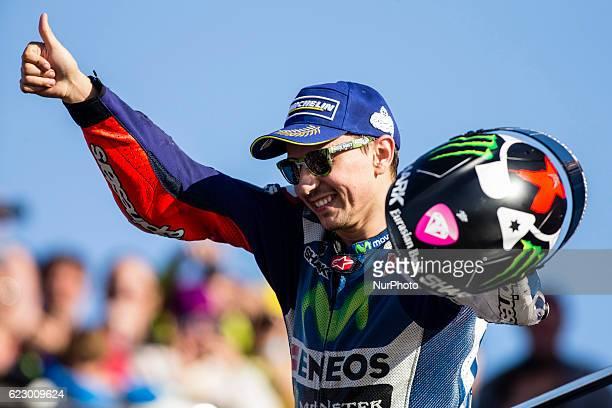 Jorge Lorenzo from Spain of Movistar Yamaha Moto GP celebrating the victory during the race of Moto GP Gran Premio Motul de la Comunitat Valenciana...