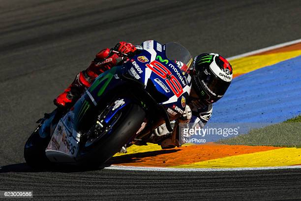 Jorge Lorenzo from Spain of Movistar Yamaha Moto GP during the race of Moto GP Gran Premio Motul de la Comunitat Valenciana at Circuito Ricardo Tormo...