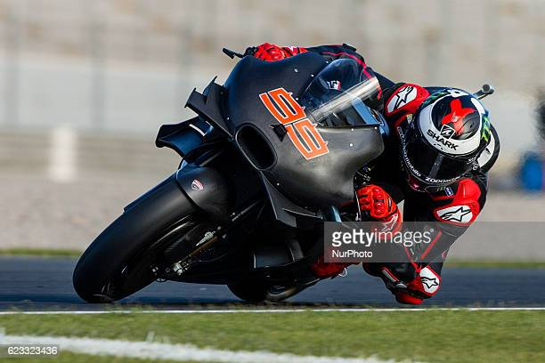 Jorge Lorenzo from Spain testing for first time the Ducati during the colective tests of Moto GP at Circuito de Valencia Ricardo Tormo on November...