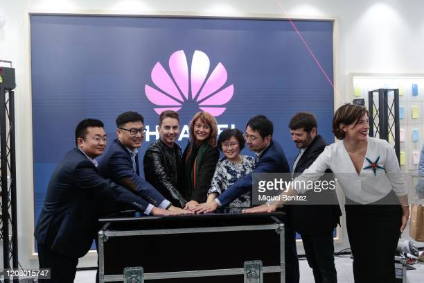 Jorge Lorenzo inaugurates Huawei Flag Ship Barcelona at Plaça Catalunya on February 22 2020 in Barcelona Spain