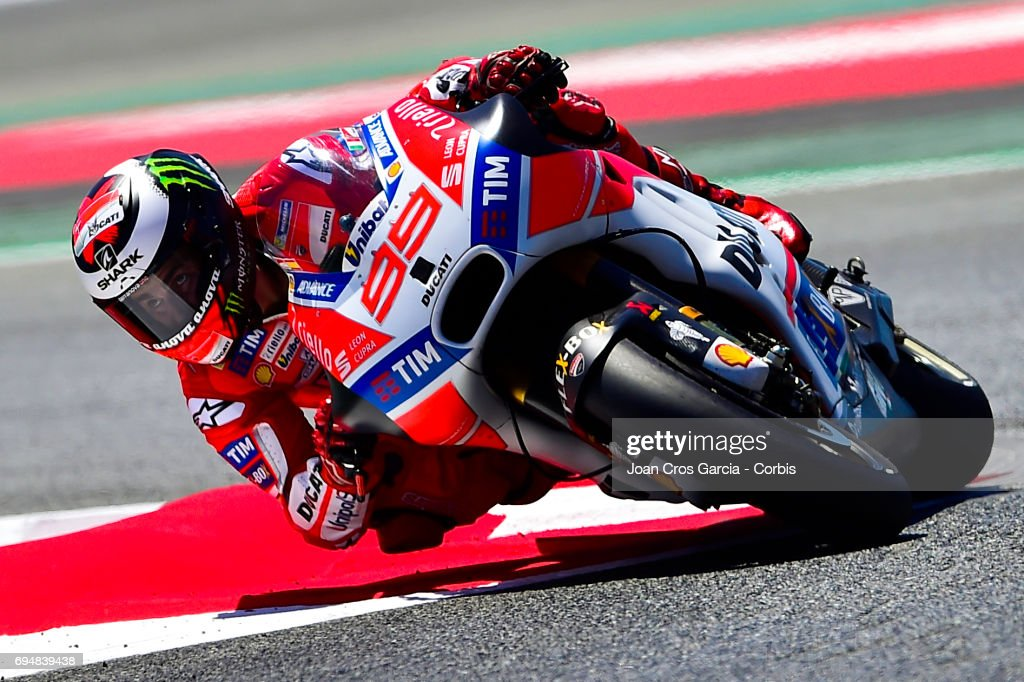 Jorge Lorenzo of Ducati Team, riding through a curve during the Qualifying, Moto GP of Catalunya at Circuit de Catalunya on June 10, 2017 in Montmelo, Spain.