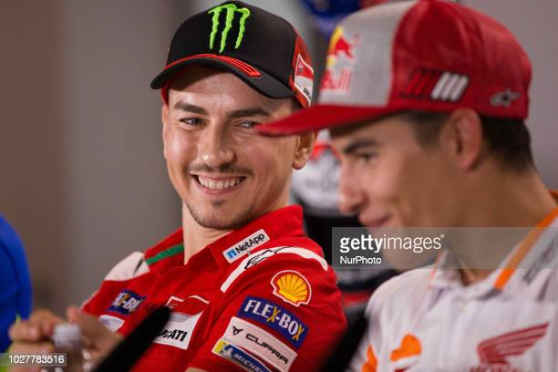 Jorge Lorenzo of Ducati Team smile during the presentation press conference of the OCTO Grand Prix of San Marino e della Riviera di Rimini at Misano...