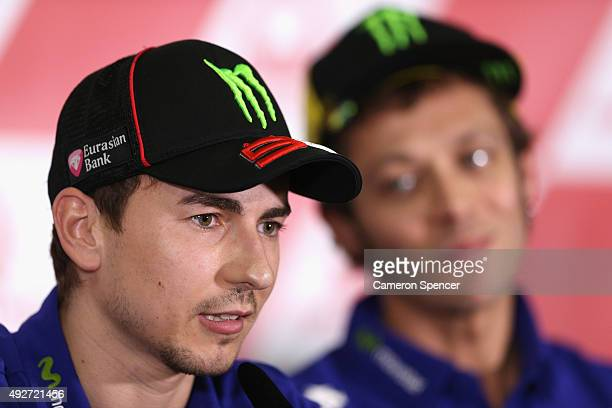 Jorge Lorenzo of Movistar Yamaha MotoGP and Spain talks during a MotoGP press conference ahead of the 2015 MotoGP of Australia at Phillip Island...