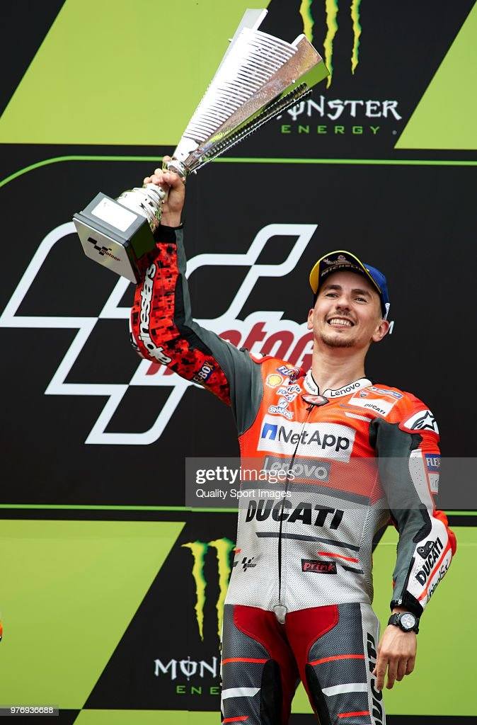 Jorge Lorenzo of Spain and Ducati Team celebrates on the podium after winning the MotoGP of Catalunya at Circuit de Catalunya on June 17, 2018 in Montmelo, Spain.
