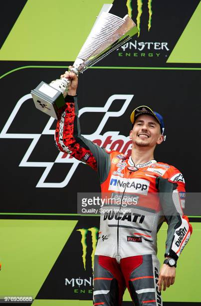 Jorge Lorenzo of Spain and Ducati Team celebrates on the podium after winning the MotoGP of Catalunya at Circuit de Catalunya on June 17 2018 in...
