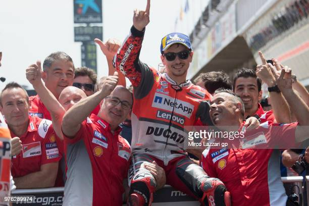 Jorge Lorenzo of Spain and Ducati Team celebrates the MotoGP pole position at the end of the qualifying practice during the MotoGp of Catalunya...