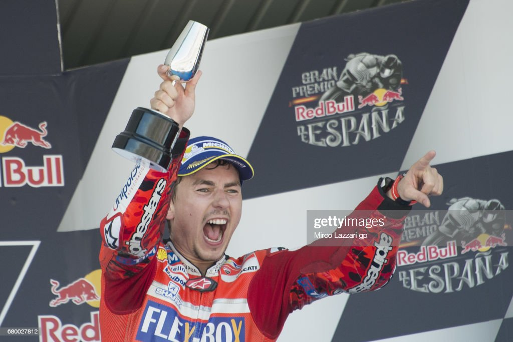 Jorge Lorenzo of Spain and Ducati Team celebrates the third place on the podium at the end of the MotoGP race during the MotoGp of Spain - Race at Circuito de Jerez on May 7, 2017 in Jerez de la Frontera, Spain.