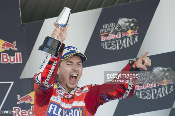 Jorge Lorenzo of Spain and Ducati Team celebrates the third place on the podium at the end of the MotoGP race during the MotoGp of Spain Race at...