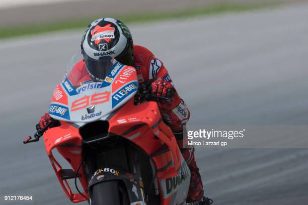 Jorge Lorenzo of Spain and Ducati Team down a straight during the MotoGP test in Sepang at Sepang Circuit on January 30 2018 in Kuala Lumpur Malaysia