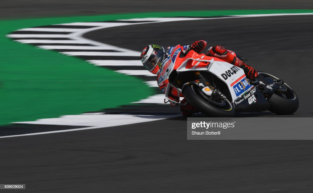 Jorge Lorenzo of Spain and Ducati Team during Free Practice 3 at Silverstone Circuit on August 26, 2017 in Northampton, England.