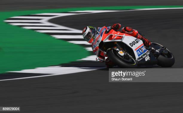 Jorge Lorenzo of Spain and Ducati Team during Free Practice 3 at Silverstone Circuit on August 26 2017 in Northampton England