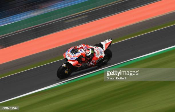 Jorge Lorenzo of Spain and Ducati Team during Free Practice at Silverstone Circuit on August 25 2017 in Northampton England