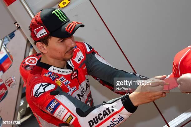 Jorge Lorenzo of Spain and Ducati Team during the qualifying of the Gran Premi Monster Energy de Catalunya Circuit of Catalunya Montmelo SpainOn 16...