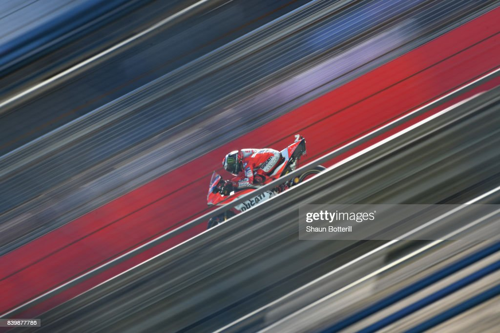 Jorge Lorenzo of Spain and Ducati Team during Warm Up at Silverstone Circuit on August 27, 2017 in Northampton, England.