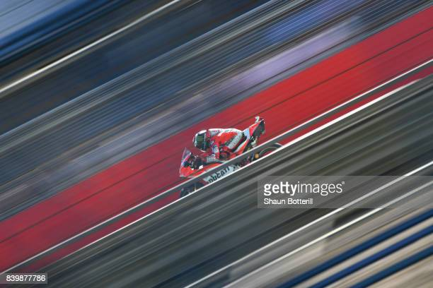 Jorge Lorenzo of Spain and Ducati Team during Warm Up at Silverstone Circuit on August 27 2017 in Northampton England