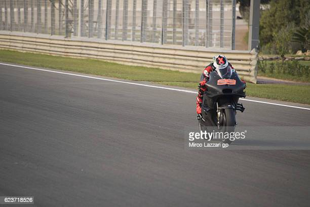 Jorge Lorenzo of Spain and Ducati Team heads down a straight during the MotoGP Pre Season Test in Valencia at Ricardo Tormo Circuit on November 15...