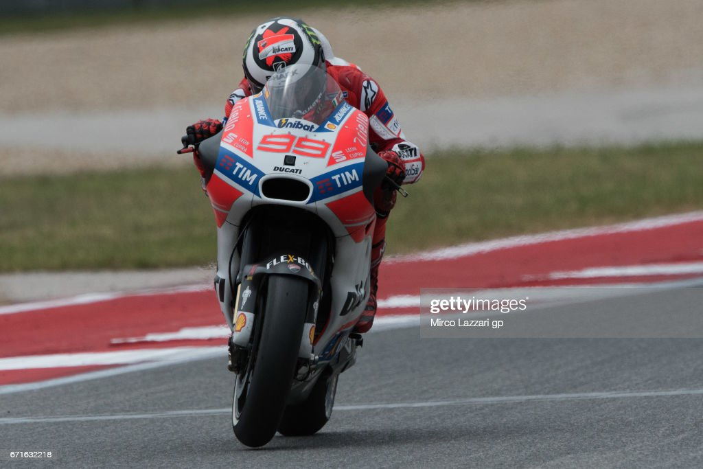 Jorge Lorenzo of Spain and Ducati Team heads down a straight during the qualifying practice during the MotoGp Red Bull U.S. Grand Prix of The Americas - Qualifying at Circuit of The Americas on April 22, 2017 in Austin, Texas.