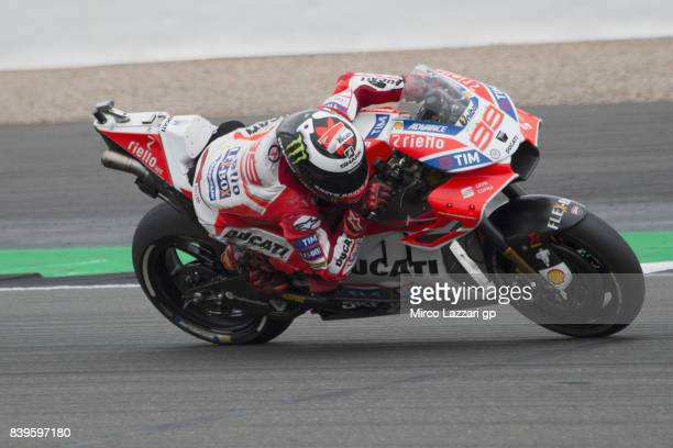 Jorge Lorenzo of Spain and Ducati Team heads down a straight during the MotoGp Of Great Britain Qualifying at Silverstone Circuit on August 26 2017...
