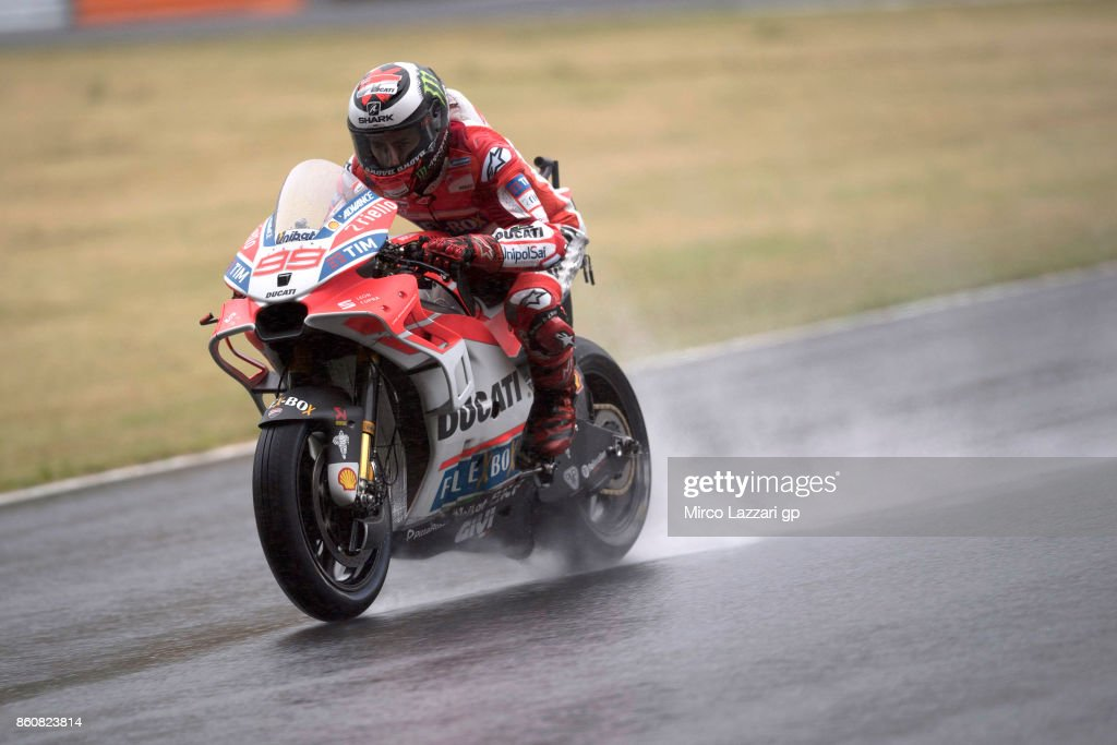 Jorge Lorenzo of Spain and Ducati Team heads down a straight during the MotoGP of Japan - Free Practice at Twin Ring Motegi on October 13, 2017 in Motegi, Japan.