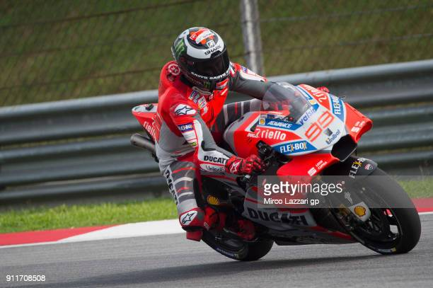Jorge Lorenzo of Spain and Ducati Team heads down a straight during the MotoGP Tests In Sepang at Sepang Circuit on January 29 2018 in Kuala Lumpur...