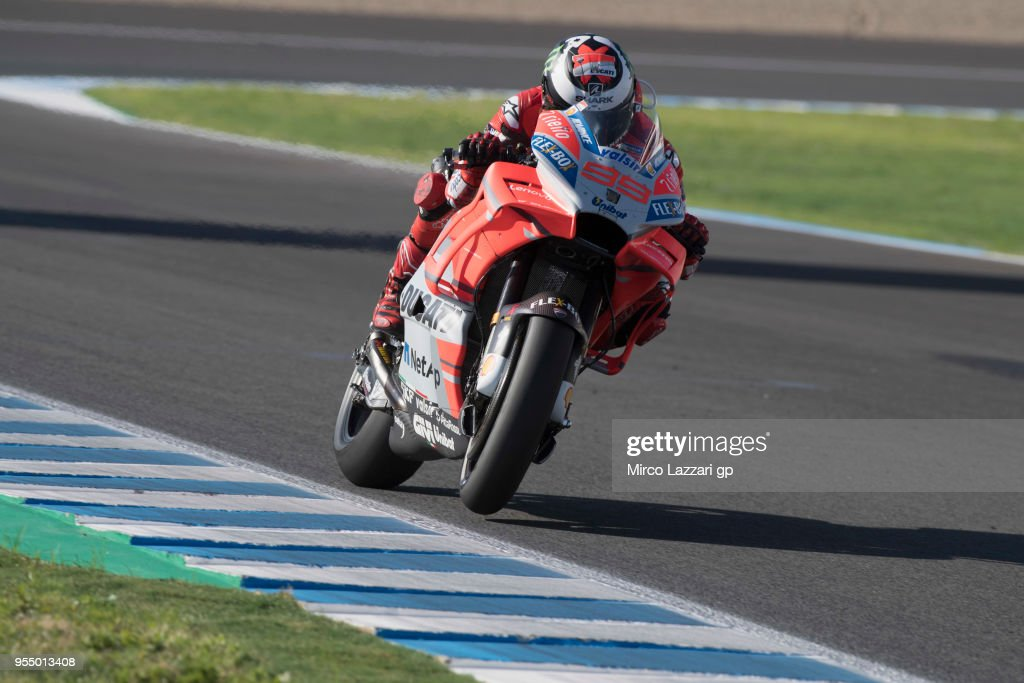 Jorge Lorenzo of Spain and Ducati Team heads down a straight during the qualifying practice during the MotoGp of Spain - Qualifying at Circuito de Jerez on May 5, 2018 in Jerez de la Frontera, Spain.
