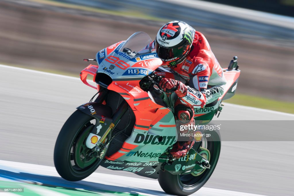 Jorge Lorenzo of Spain and Ducati Team heads down a straight during the MotoGP Netherlands - Free Practice on June 29, 2018 in Assen, Netherlands.