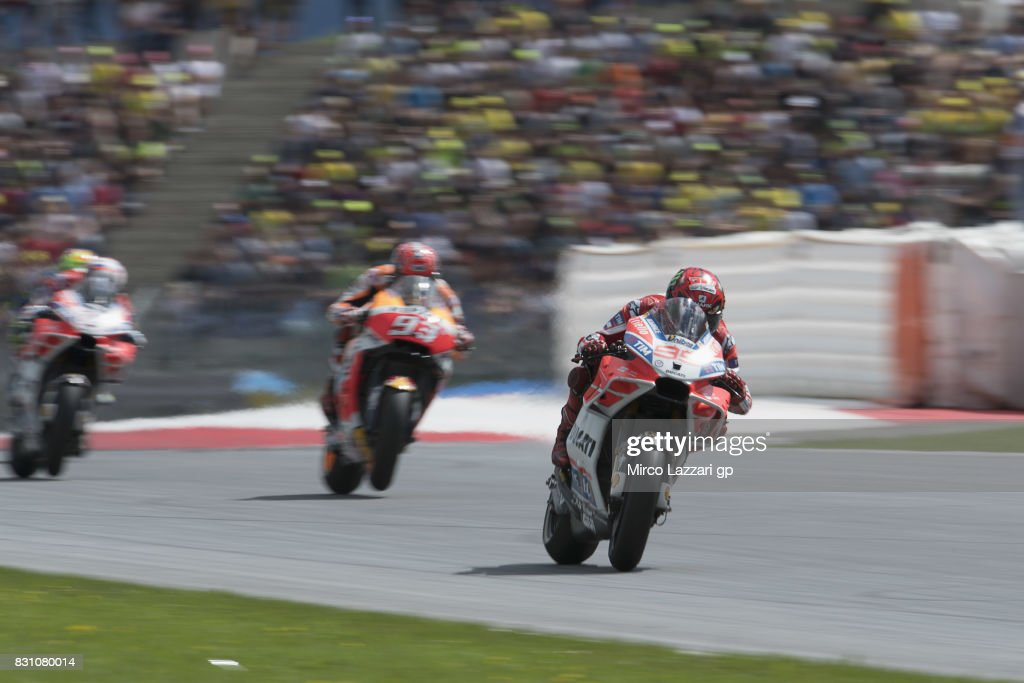 Jorge Lorenzo of Spain and Ducati Team leads the field during the MotoGP race during the MotoGp of Austria - Race at Red Bull Ring on August 13, 2017 in Spielberg, Austria.