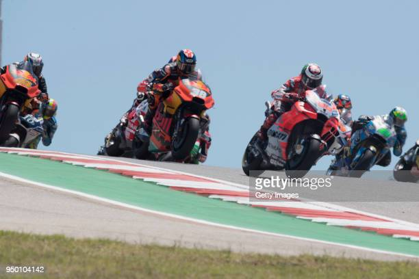 Jorge Lorenzo of Spain and Ducati Team leads the field during the MotoGP race during the MotoGp Red Bull US Grand Prix of The Americas Race at...