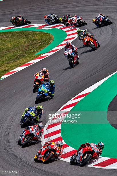 Jorge Lorenzo of Spain and Ducati Team leads the race during MotoGP race of Catalunya at Circuit de Catalunya on June 17 2018 in Montmelo Spain