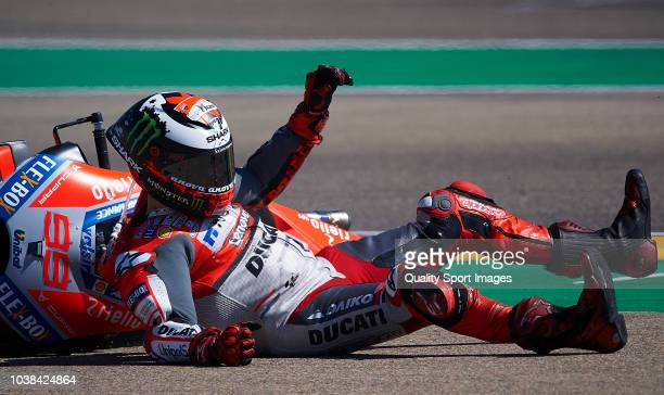 Jorge Lorenzo of Spain and Ducati Team lies at the track after a crash during MotoGP race of the MotoGP Grand Prix of Aragon at Motorland Aragon...