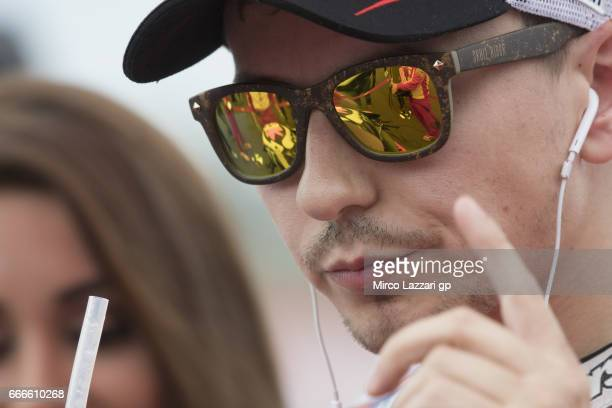 Jorge Lorenzo of Spain and Ducati Team prepares to start on the grid during the MotoGP race during the MotoGp of Argentina Race on April 9 2017 in...