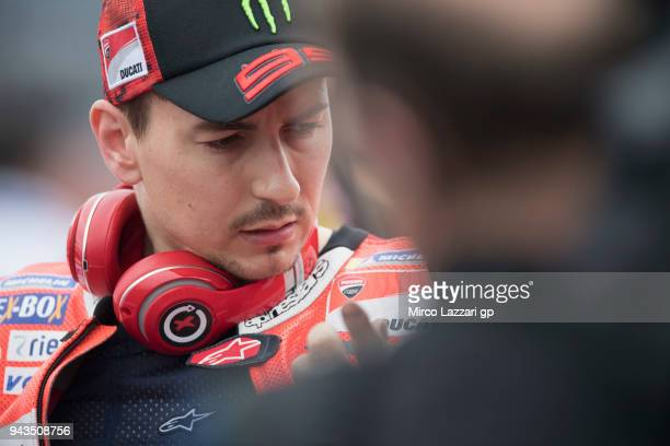 Jorge Lorenzo of Spain and Ducati Team prepares to start on the grid during the MotoGP race during the MotoGp of Argentina Race on April 8 2018 in...