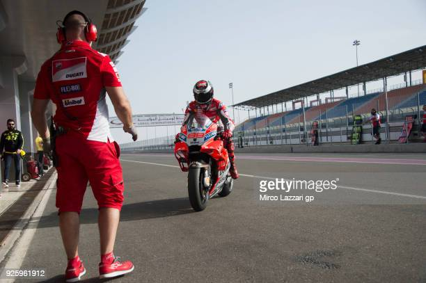 Jorge Lorenzo of Spain and Ducati Team returns in box and greets during the MotoGP Testing Qatar at Losail Circuit on March 1 2018 in Doha Qatar