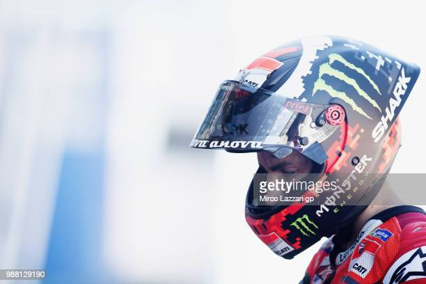 Jorge Lorenzo of Spain and Ducati Team returns in box during the Qualifying practice during the MotoGP Netherlands Qualifying on June 30 2018 in...