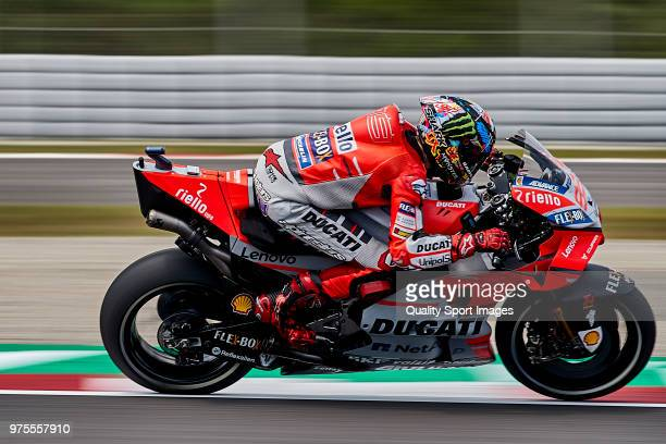 Jorge Lorenzo of Spain and Ducati Team rides during free practice for the MotoGP of Catalunya at Circuit de Catalunya on June 15 2018 in Montmelo...