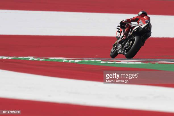 Jorge Lorenzo of Spain and Ducati Team rounds the bend during the MotoGp of Austria Free Practice at Red Bull Ring on August 10 2018 in Spielberg...