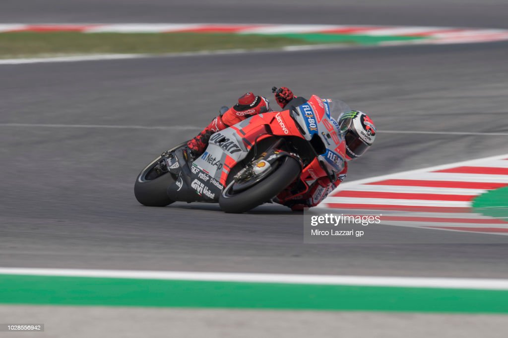 Jorge Lorenzo of Spain and Ducati Team rounds the bend during the MotoGP of San Marino - Free Practice at Misano World Circuit on September 7, 2018 in Misano Adriatico, Italy.